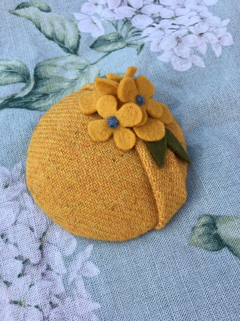 531d5b9761f Yellow Harris tweed fascinator   hat with wool felt flowers