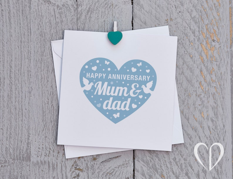 happy anniversary mum and dad card blue parents