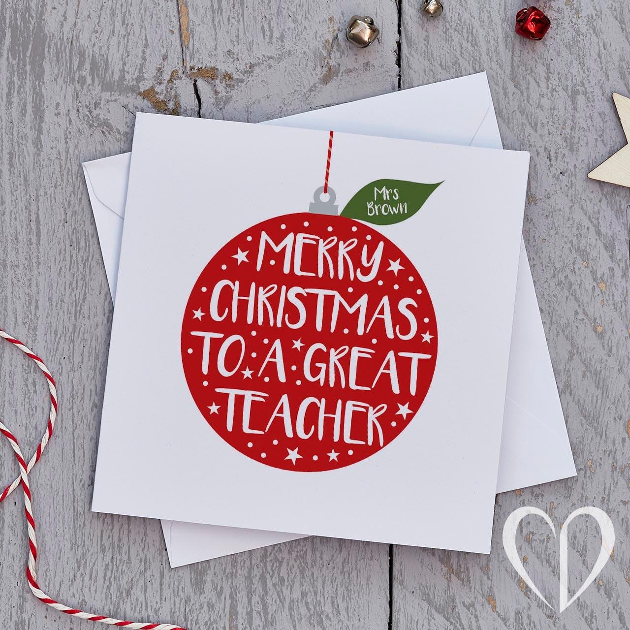 Teacher Christmas Card Bauble Teacher Christmas Cards | Etsy