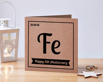 Personalised 6 Year Anniversary Card, 6th Anniversary Card, Iron Anniversary Card, Sixth Anniversary Card, Quirky Anniversary Card