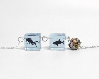 Diver pendant necklace, shark necklace, divers jewelry, silhouette pendant, cube pendant, transparent jewelry, 925 sterling silver jewelry