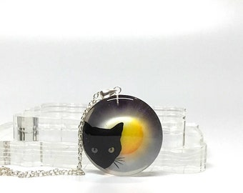 Cat silhouette pendant necklace, cat lovers jewelry, silhouette jewelry, resin pendant, girls necklace, 925 sterling silver necklace