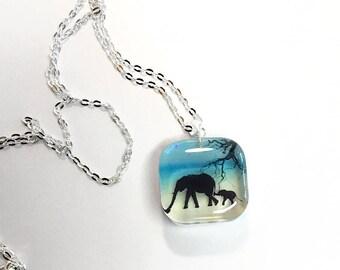 Elephant pendant necklace, elephant jewelry, silhouette jewelry, resin jewelry, 925 sterling necklace, gift for her