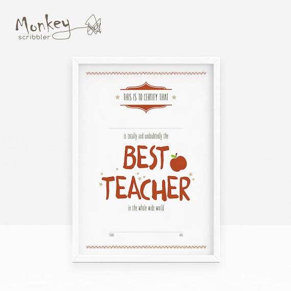 Teacher Certificate Best Teacher Certificate A4 Certificate Etsy