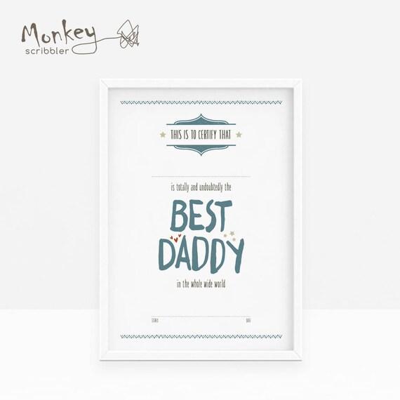 Papa-Zertifikat beste Papa Zertifikat A4 Zertifikat Väter | Etsy