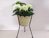 Tall metal plant stand, vintage tripod plant stand, mcm