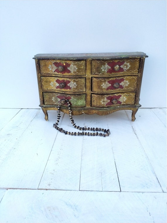 Dollhouse furniture, florentine jewelry chest of d