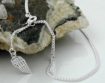 Anklet with angel wings, silver 925
