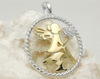 rhodium plated silver 925 Capricorn pendant star sign shiny 13x12mm