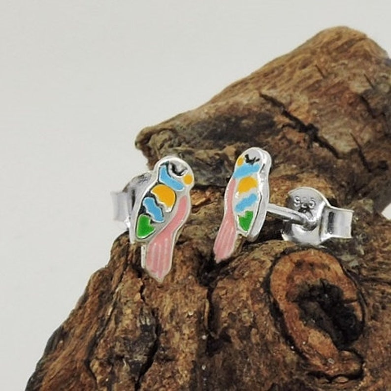 Delicate parrot stud earrings colored silver 925 painted small 9x4mm