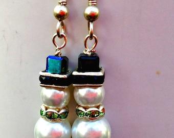 Holiday Earrings, Snowman Earrings, Gift for Women, Swarovski Crystal Earrings, Snowman Jewelry, Christmas Earrings, Winter Earrings