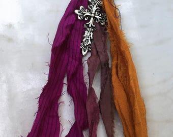 Boho Key chain, Boho Tassel Keychain, Sari Silk Tassel, Tassel Purse Clip, Cross Keychain, Christian Key Chain, Sari Ribbon Key Chain