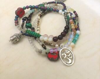 Gemstone Bracelet, Boho Beaded Wrap Bracelet, Stackable Bracelet, Buddha Necklace, Stretch Bracelet, Layered Necklace, Bohemian Necklace