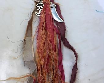 Boho Tassel Keychain, Tassel Purse Clip, Boho Key chain, Sari Silk Tassel, Silver OHM Keychain, Silver Horn Key Chain, Sari Ribbon Key Chain