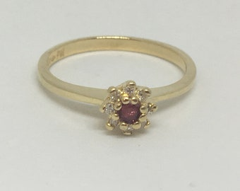 Ruby and Diamond Cluster Ring Size~Just under 6~Sweet!