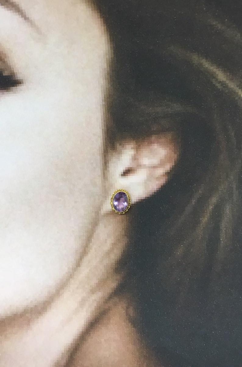 Classic! Yellow Gold Earrings February Birthstone 14k Amethyst Stud Earrings Amethyst Oval Purple Gemstone