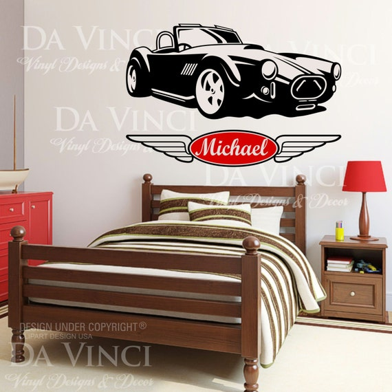 Car Classic Wheels Racecar Custom Wall Room Name Vinyl Wall Decal Sticker