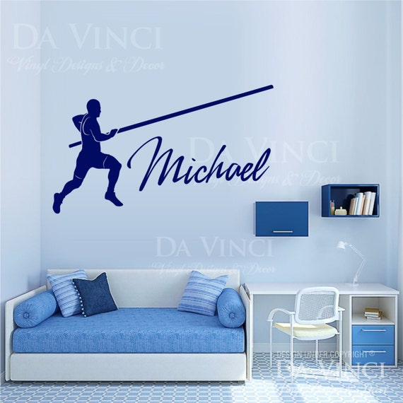 Pole Vaulter Vaulting Track Field Decal Custom Name Personalized Vinyl Sticker