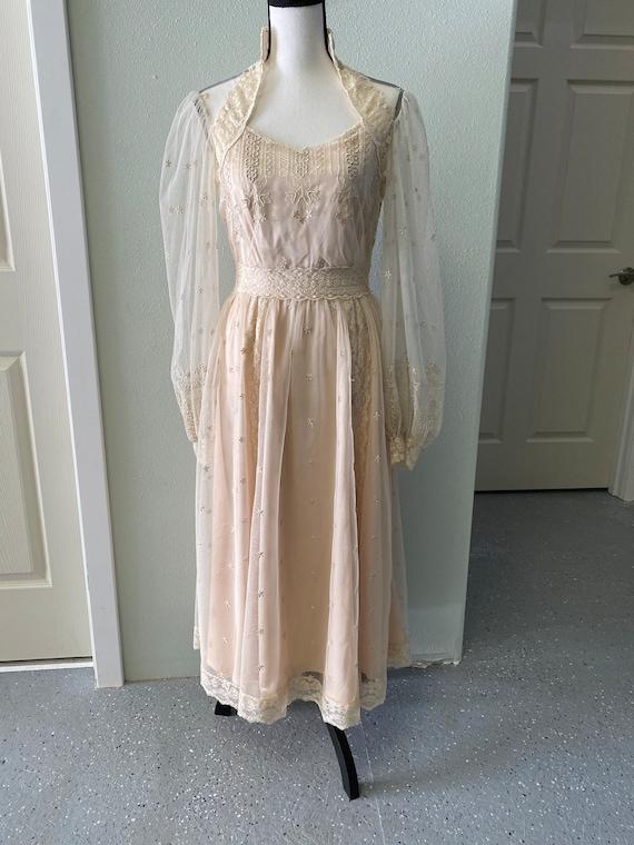 Vintage Gown, Beige Dress, Lace Overlay Gown, Eliz
