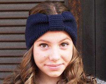acc9b2eeed7a8 Blue Turban Knit Headband, Navy Blue Knit Headband, Knitted Head Wrap,  Knitted Ear Warmer, Hand Knitted Turban Ear-warmer, Hat Hair Wrap,