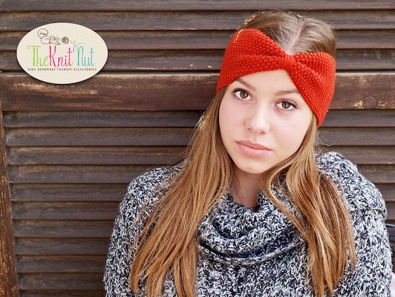 Red Hand knitted headband Winter Ear Warmer Knitted Turban  281097364bb