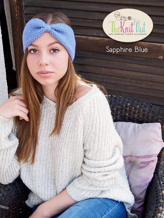 Green Ear Warmer Adult Hand Knit Acrylic Winter Headband