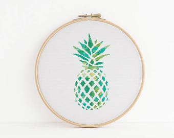 Cross Stitch Pattern, Pineapple, Sea Green, Green, Lime, Palm Beach, Counted Cross Stitch, Embroidery, PDF, ePattern, Instant Download