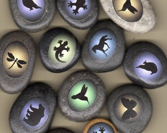 boda stones with animal totems raven, frog, lizard, hummingbird, bear, horse, butterfly, owl, fox, wolf and more