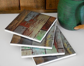 Tile coaster with aged and weathered woodgrain print; set of 4