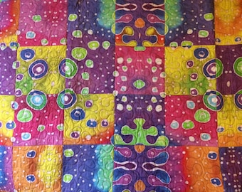 Funky lap quilt; bright and colorful abstract design, boda be designed fabric