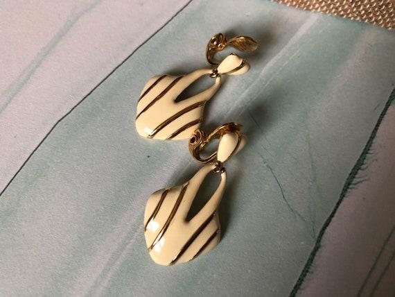Enamel vintage clip on earrings cream colour geometric shape