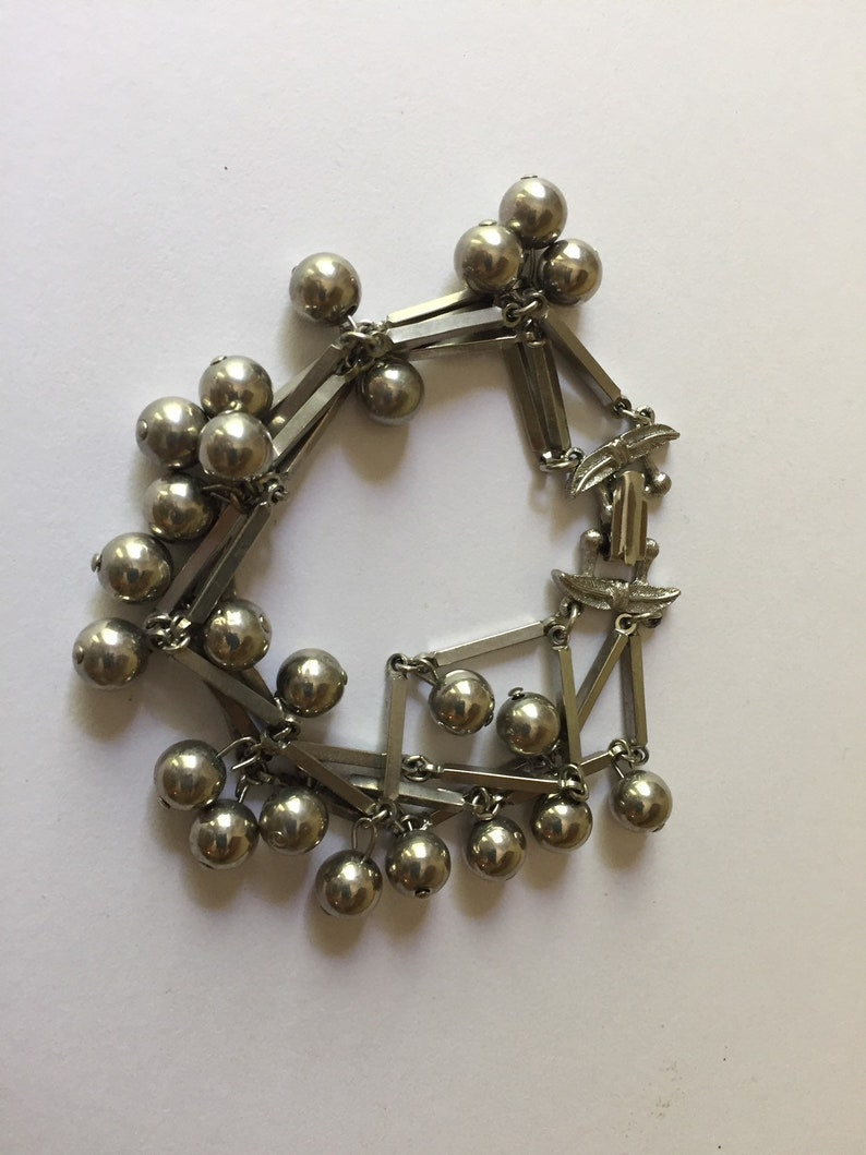 Silver Toned Metal Multi Strand Bracelet with Long Rectangle and Dangling Round Ball Beads Vintage
