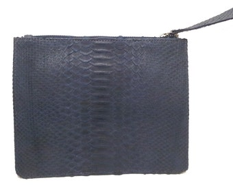 f03c90aa413f Gray zippered snakeskin pouch