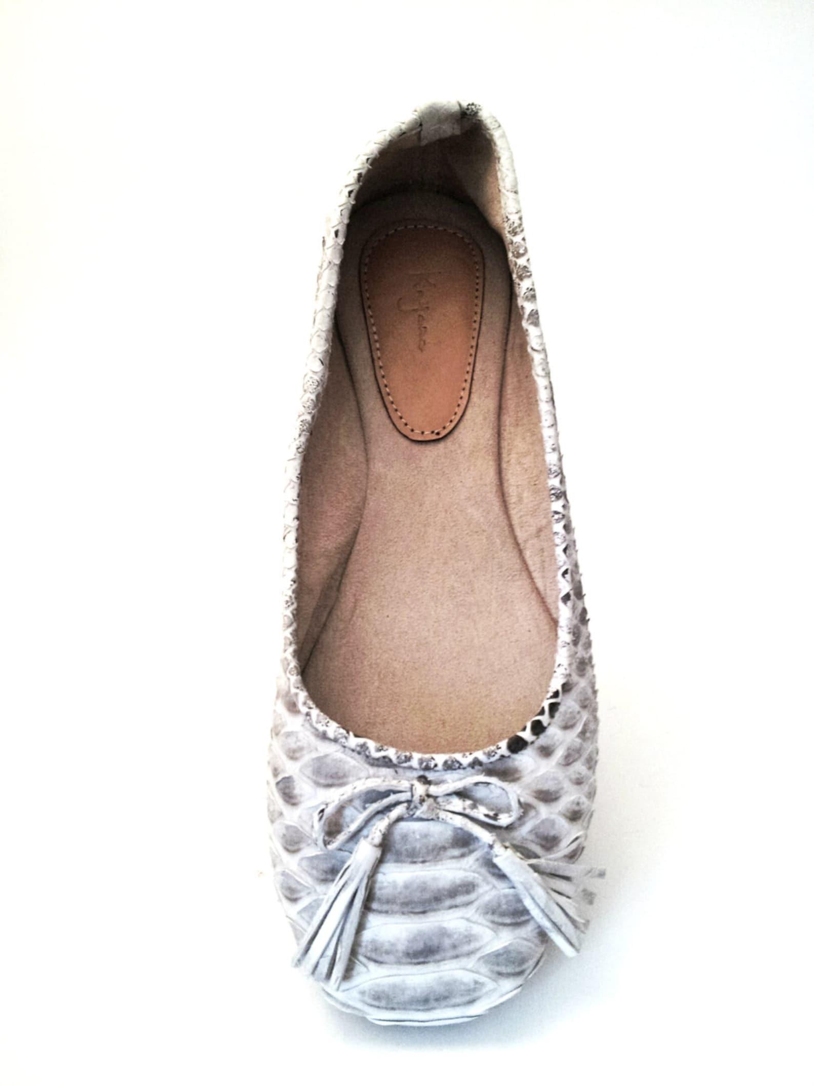 black & white python ballet flats