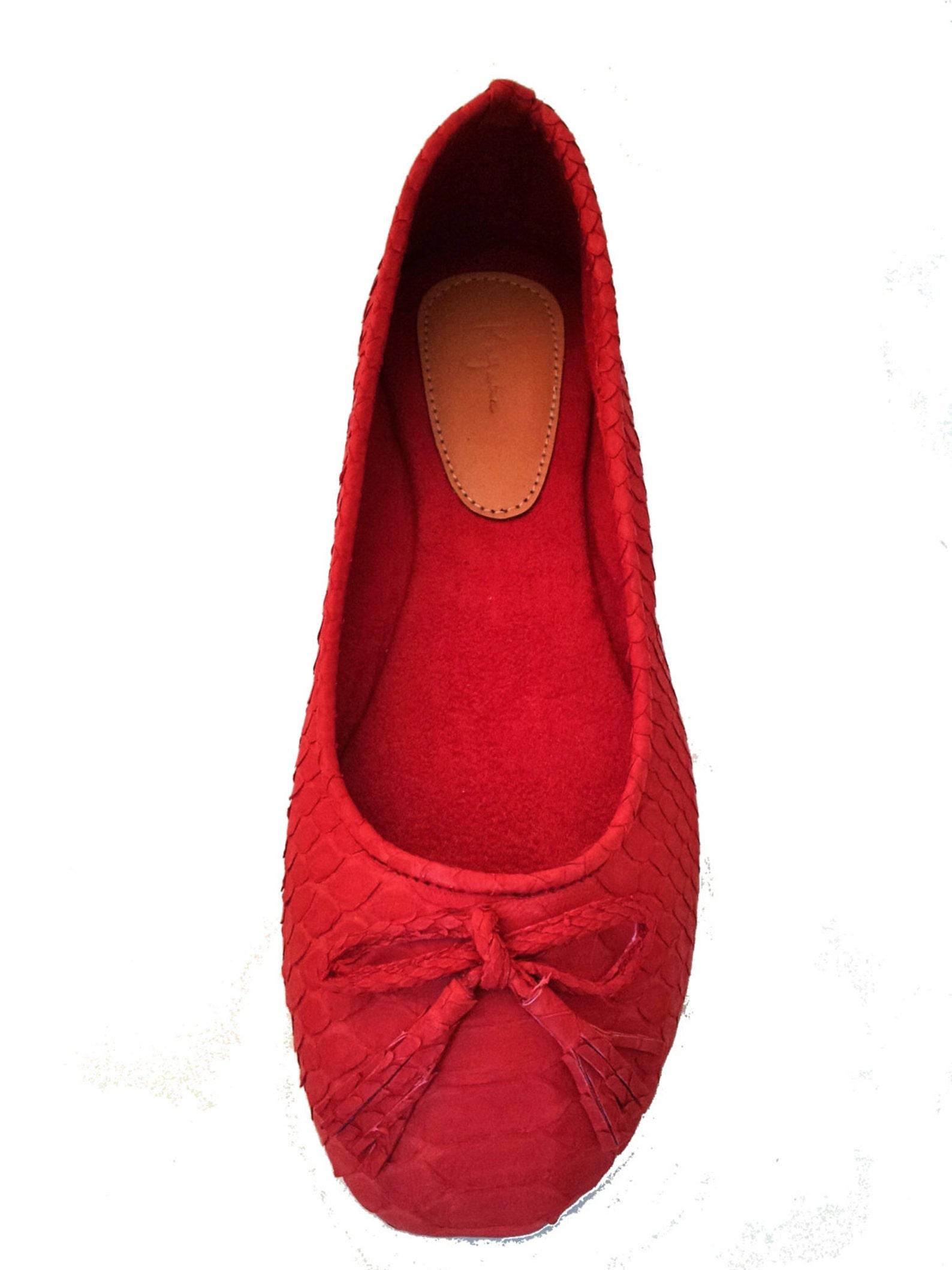 red python ballet flats