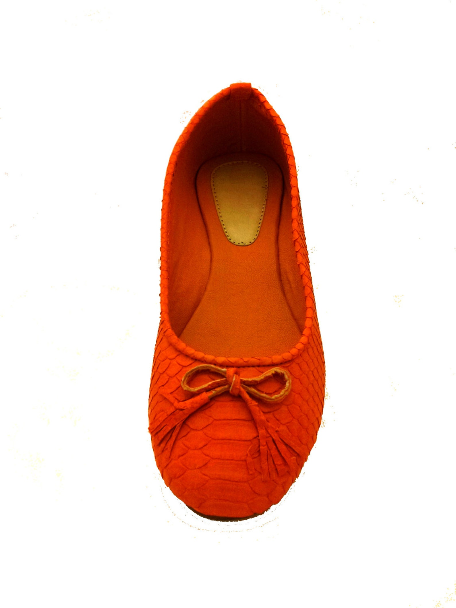 orange python ballet flats