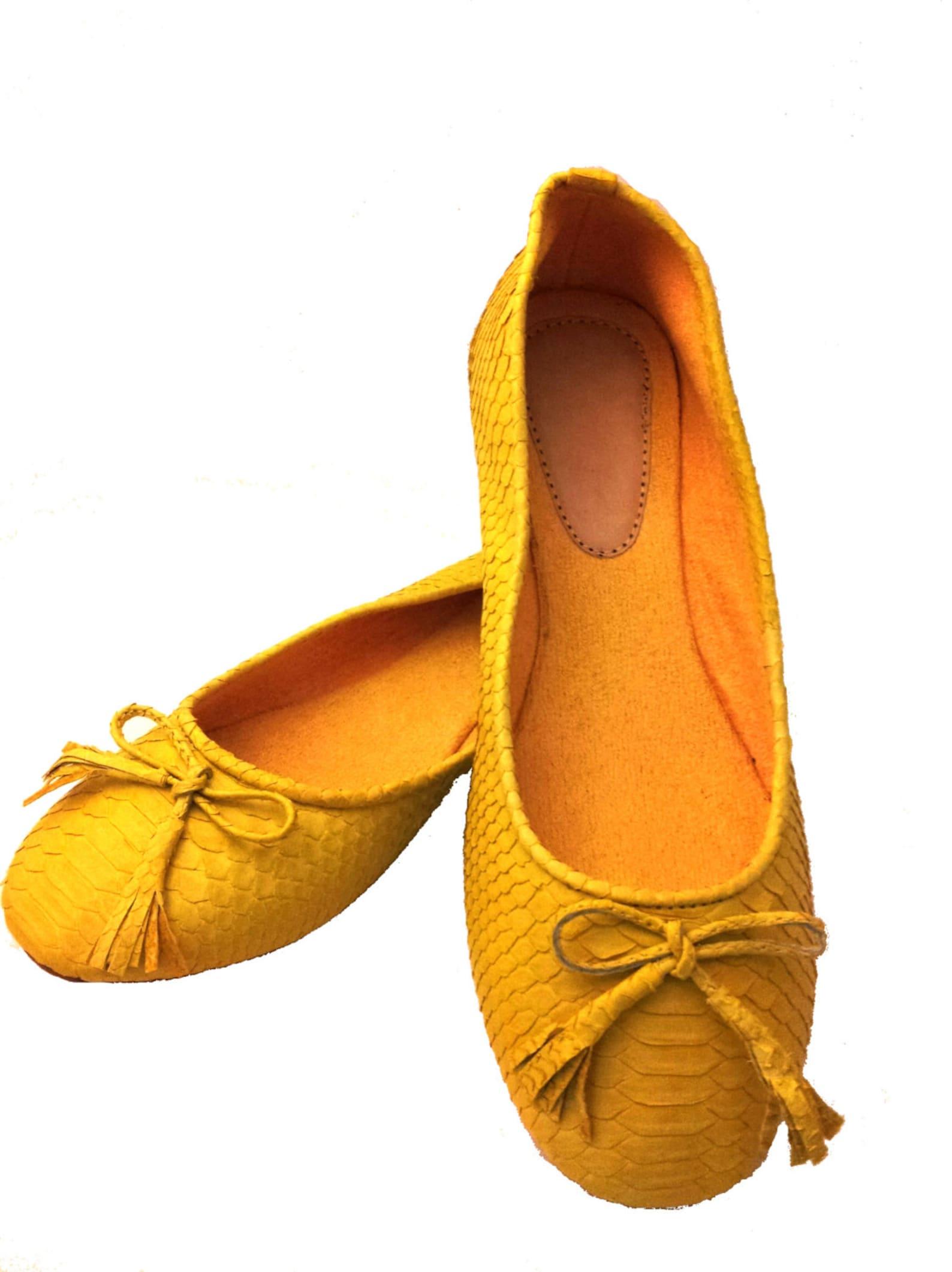 yellow python ballet flats