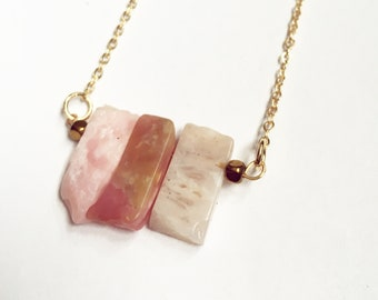 Long gold filled necklace- Pink Opal gemstone