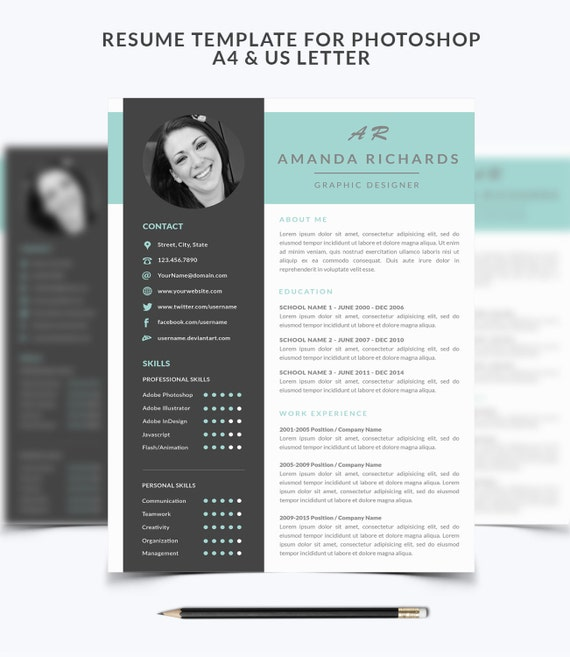 Resume Template 001 For Photoshop CV Cover Letter