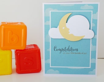 Baby Congratulations, Bundle Of Joy, Handmade Card, Baby Clouds, Moon, New Baby, Baby Shower, Greeting Card, Baby Card, New Parents, Congrat