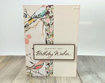 Birthday Birds, Birthday, Happy Birthday, Birthday Wishes, Handmade Card, Greeting Card, Birthday Card, Pink, Floral, Birds, Wrapped In Love