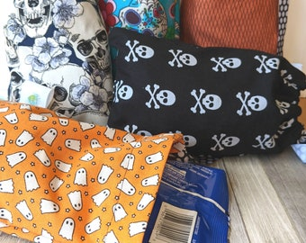 Halloween Bags, Treat Bags, Trick Or Treat, Candy Bags, Cotton Bags, Reusable Bags, Gift Bag, Halloween, Ghosts, Skulls, Orange, Black, Boo