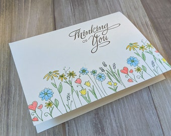 Thinking Of You, Handmade Card, Greeting Card, Watercolor, Flowers, Uplifting, Special Person, Loss of Life, Family, Friend, Positive Vibes