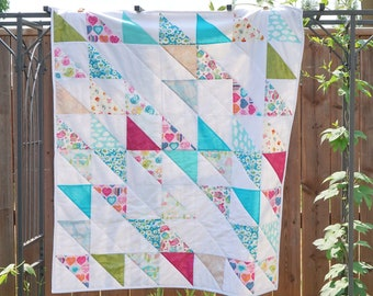 Bright Baby Quilt, Blithe Pattern, Square, Birds, Animals, Bright Colors, Baby Shower, Baby Gift, New Mom, Pink, Blue, Green, White, Baby