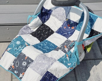 Space Car Seat Cover, Baby Car Seat, Seat Cover, Baby Seat, Quilt, Quilted Cover, Space, Blue, Grey, Baby Gift, Shower Gifts, Baby Shower