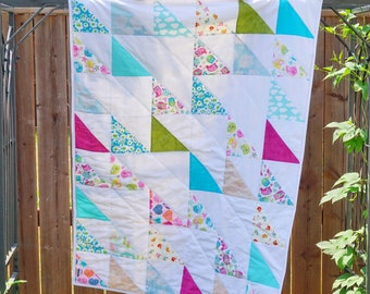 Bright Baby Quilt, Blithe Pattern, Baby Quilt, Birds, Animals, Bright Colors, Baby Shower, Baby Gift, New Mom, Pink, Blue, Green, White