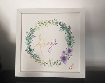 Always - Wreath - original watercolor painting - Potter Reference