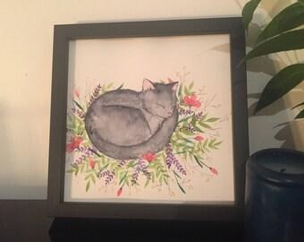 Cat - original watercolor painting