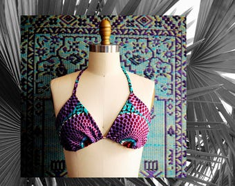 MOSELLE Classic Triangle String Bikini Top in Purple/Red/Turquoise Ghanaian Wax Print