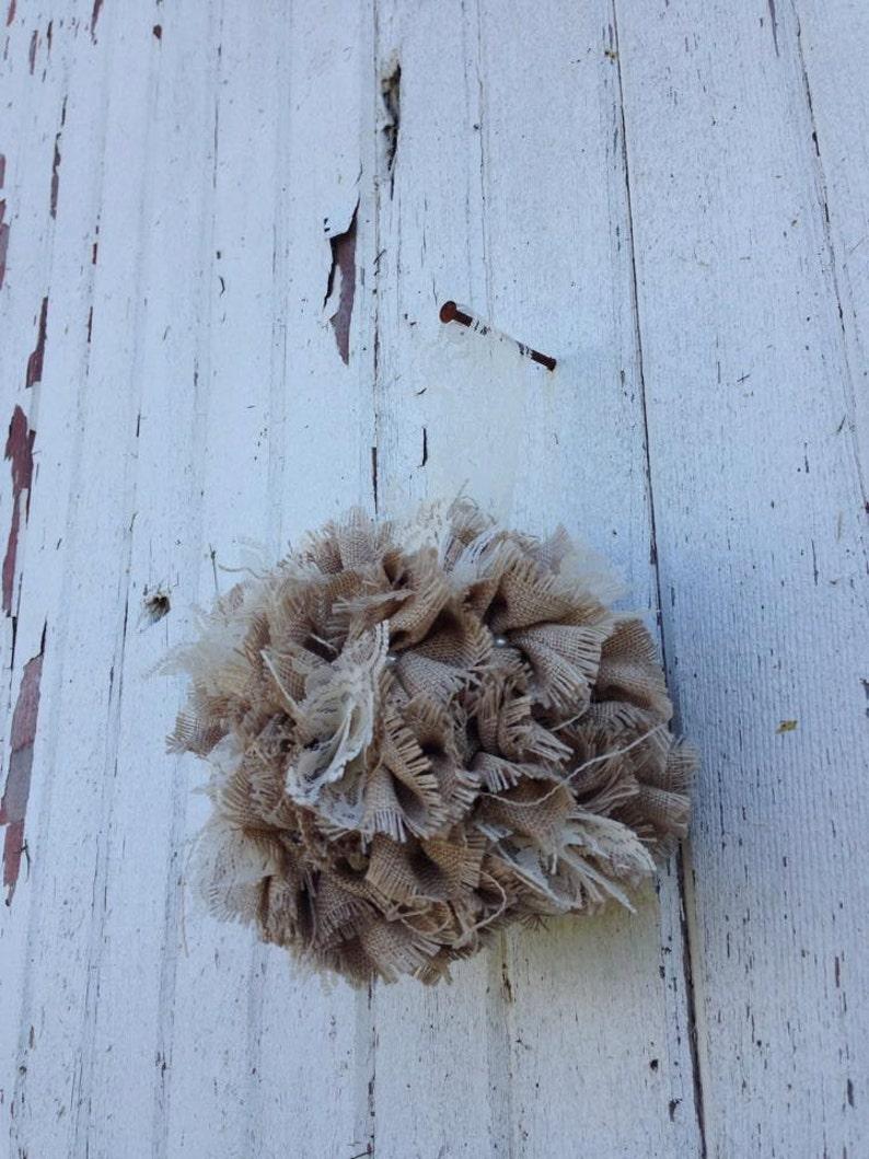 Rustic Romantic Shabby Chic Burlap Flower Alternative Pomander Burlap Kissing Ball Flower Girl Basket Lace and Pearl Wedding 7 Inch